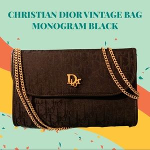 CHRISTIAN DIOR VINTAGE BAG MONOGRAM BLACK